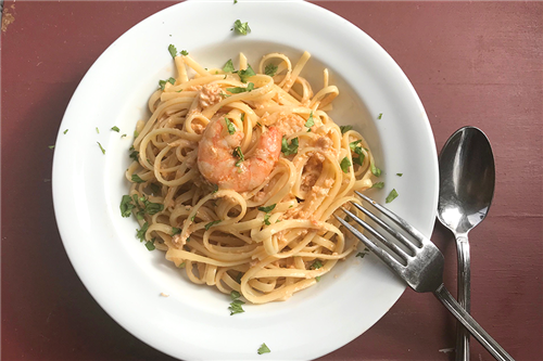 Pink Shrimp Sauce with Linguine
