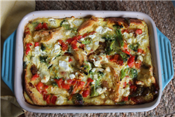 Savory Red Pepper and Feta Bread Pudding