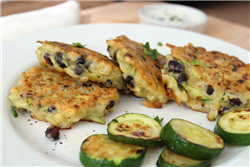 Black Bean, Corn, and Zucchini Fritters with Creamy Dipping Sauce