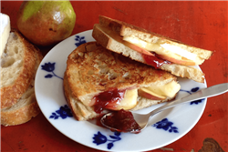 Brie Panini with Fresh Pear and Red Fruit Jam