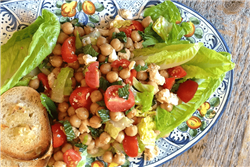 Chickpea, Tomato, Mint, and Feta Salad with Garlic-Parmesan Crostini