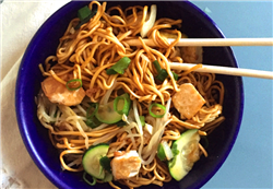 Pan-Fried Noodles with Tofu and Soy-Chili Sauce