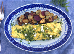 Zucchini and Goat Cheese Omelette with Fingerling Potatoes
